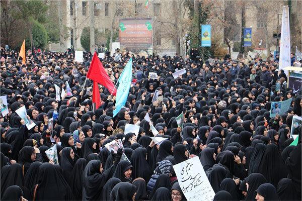 تجمع دانشگاهیان تهران در محکومیت ترور ناجوانمردانه سردار سلیمانی